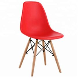 High Density PP Plastic Dining Chairs Non Slip With Solid Beech Wood Legs